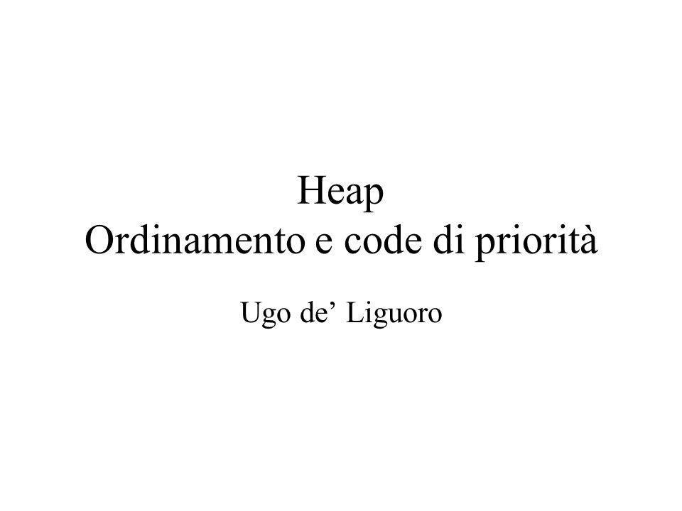 Heap Ordinamento e code di priorità Ugo de Liguoro