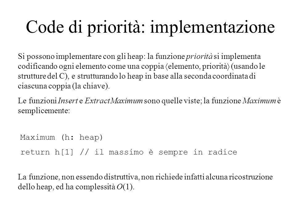 Code di priorità: implementazione Si possono implementare con gli heap: la funzione priorità si implementa codificando ogni elemento come una coppia elemento, priorità (usando le strutture del C), e strutturando lo heap in base alla seconda coordinata di ciascuna coppia (la chiave).
