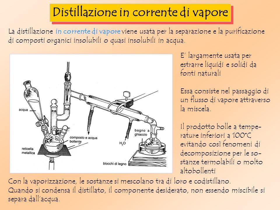 Distillazione in corrente di vapore La distillazione in corrente di vapore viene usata per la separazione e la purificazione di composti organici insolubili o quasi insolubili in acqua.