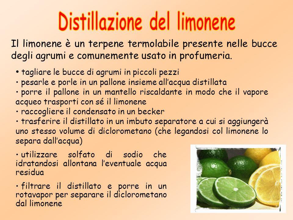 Il limonene è un terpene termolabile presente nelle bucce degli agrumi e comunemente usato in profumeria.