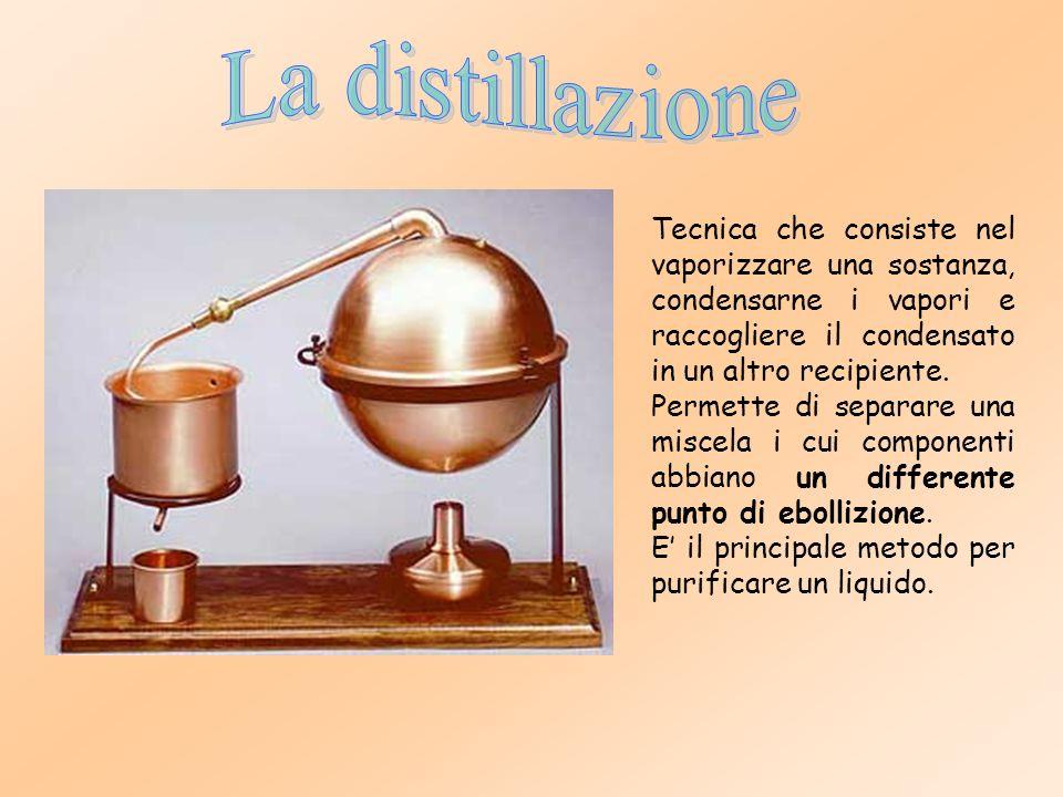 Tecnica che consiste nel vaporizzare una sostanza, condensarne i vapori e raccogliere il condensato in un altro recipiente.