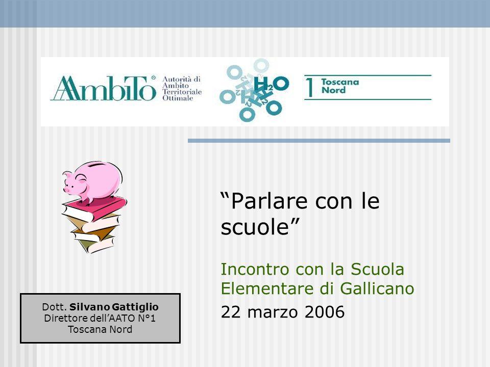 Parlare con le scuole Incontro con la Scuola Elementare di Gallicano 22 marzo 2006 Dott. Silvano Gattiglio Direttore dellAATO N°1 Toscana Nord