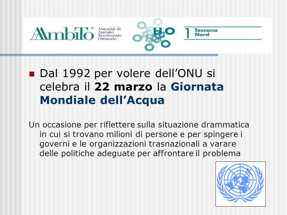 Dal 1992 per volere dellONU si celebra il 22 marzo la Giornata Mondiale dellAcqua Un occasione per riflettere sulla situazione drammatica in cui si tr