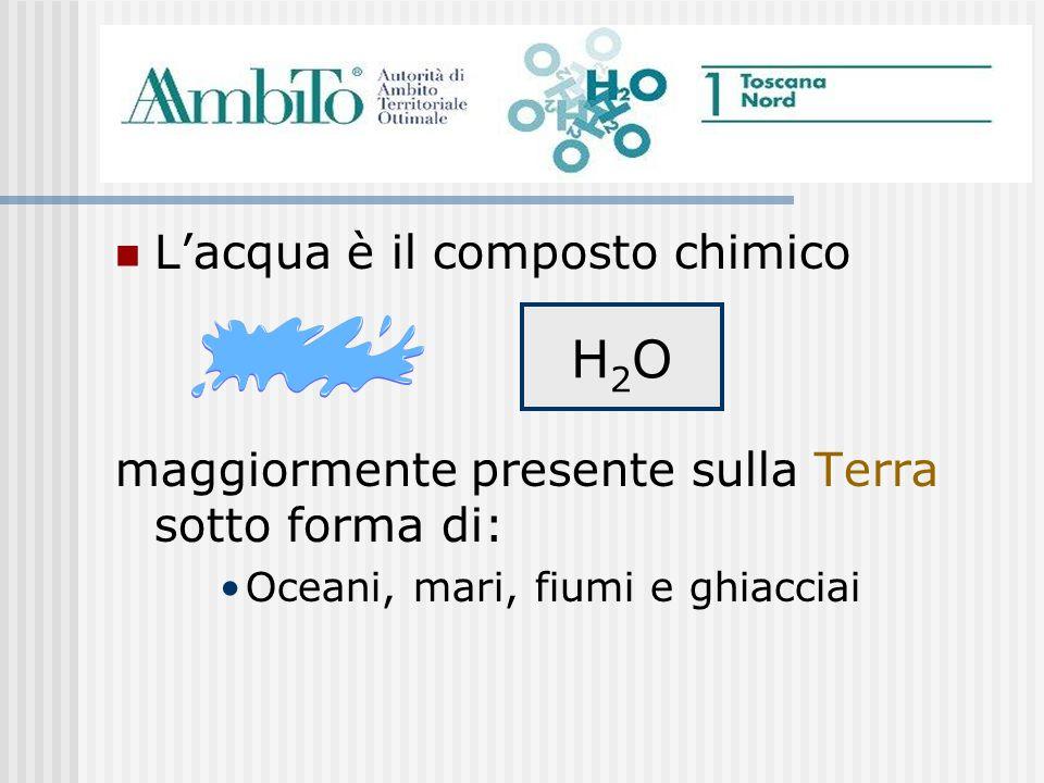 Lacqua è il composto chimico maggiormente presente sulla Terra sotto forma di: Oceani, mari, fiumi e ghiacciai H2OH2O