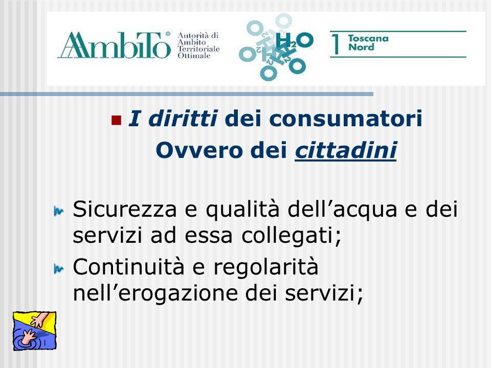 I diritti dei consumatori Ovvero dei cittadini Sicurezza e qualità dellacqua e dei servizi ad essa collegati; Continuità e regolarità nellerogazione d