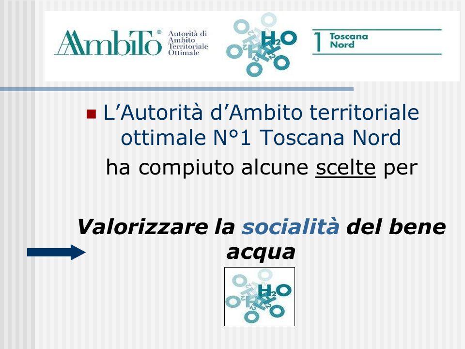 LAutorità dAmbito territoriale ottimale N°1 Toscana Nord ha compiuto alcune scelte per Valorizzare la socialità del bene acqua