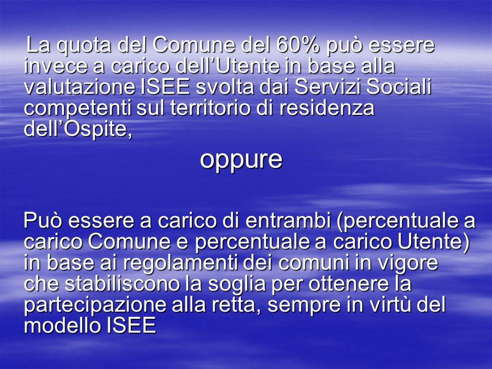 La quota del Comune del 60% può essere invece a carico dellUtente in base alla valutazione ISEE svolta dai Servizi Sociali competenti sul territorio d