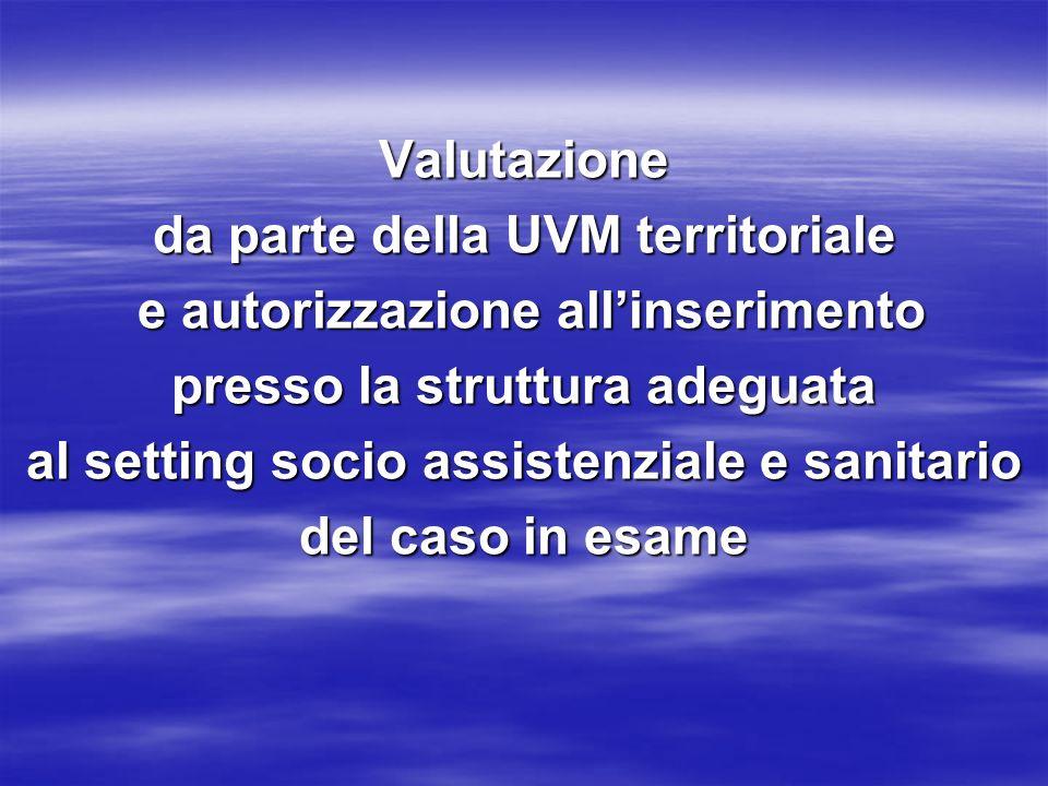 Valutazione da parte della UVM territoriale e autorizzazione allinserimento e autorizzazione allinserimento presso la struttura adeguata al setting socio assistenziale e sanitario del caso in esame
