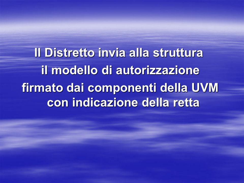 Il Distretto invia alla struttura il modello di autorizzazione il modello di autorizzazione firmato dai componenti della UVM con indicazione della retta firmato dai componenti della UVM con indicazione della retta