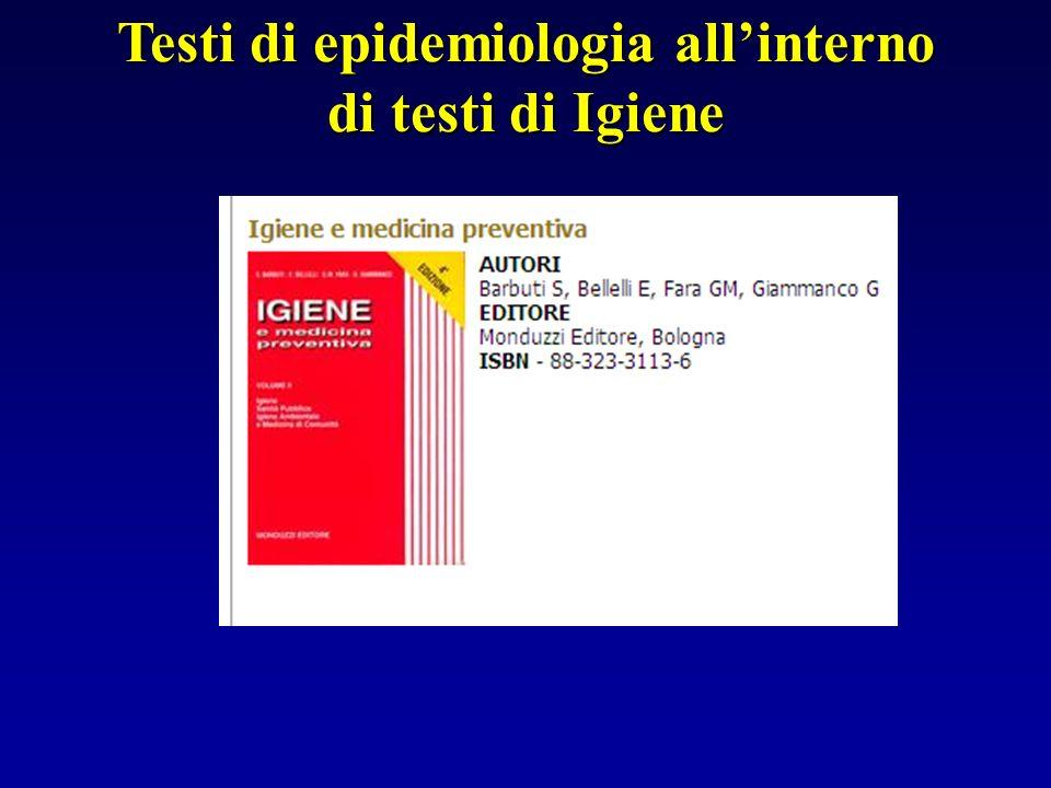 Testi di epidemiologia allinterno di testi di Igiene