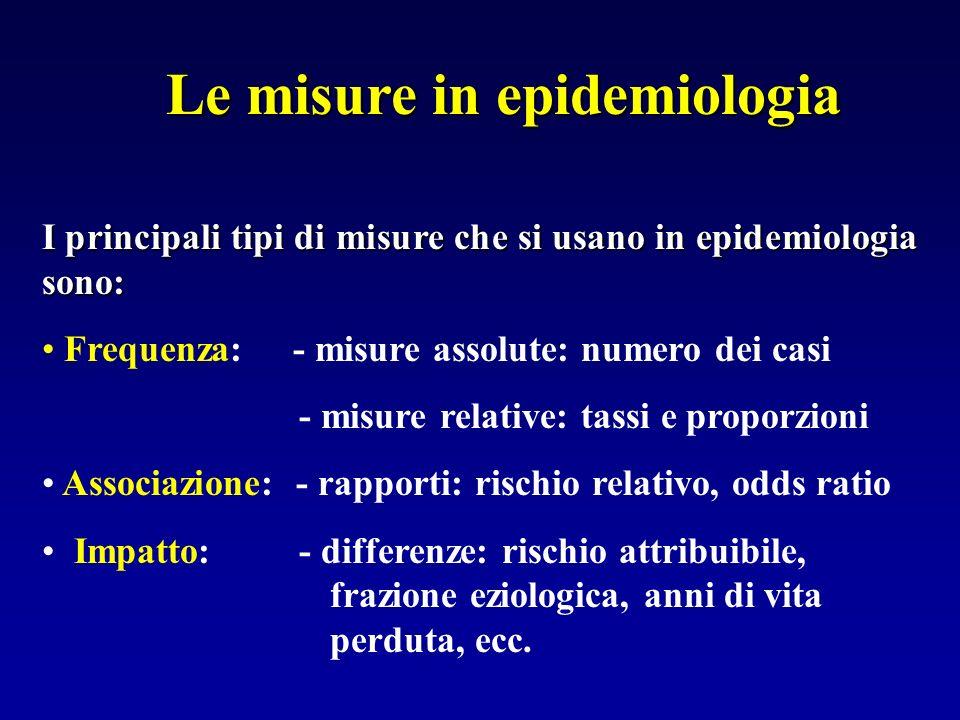 Le misure in epidemiologia I principali tipi di misure che si usano in epidemiologia sono: Frequenza: - misure assolute: numero dei casi - misure rela