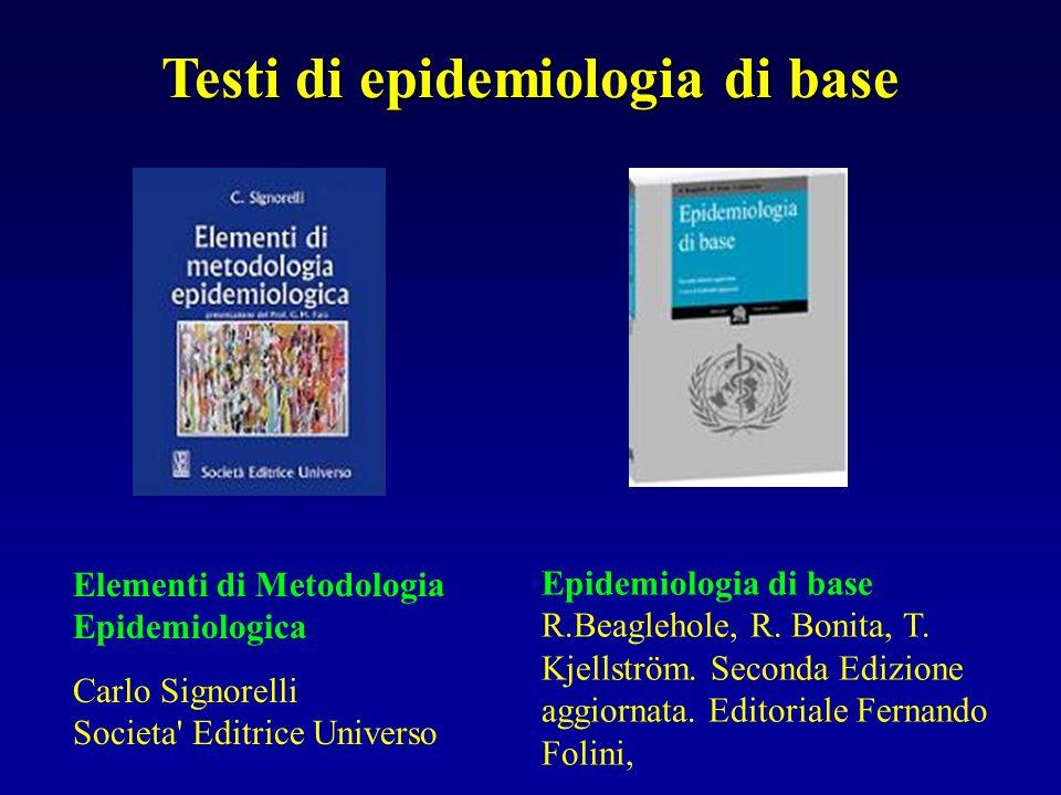 Testi di epidemiologia di base Epidemiologia di base R.Beaglehole, R. Bonita, T. Kjellström. Seconda Edizione aggiornata. Editoriale Fernando Folini,