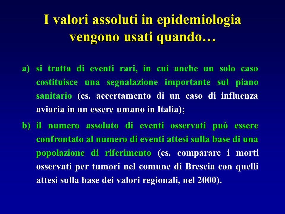 I valori assoluti in epidemiologia vengono usati quando… a)si tratta di eventi rari, in cui anche un solo caso costituisce una segnalazione importante