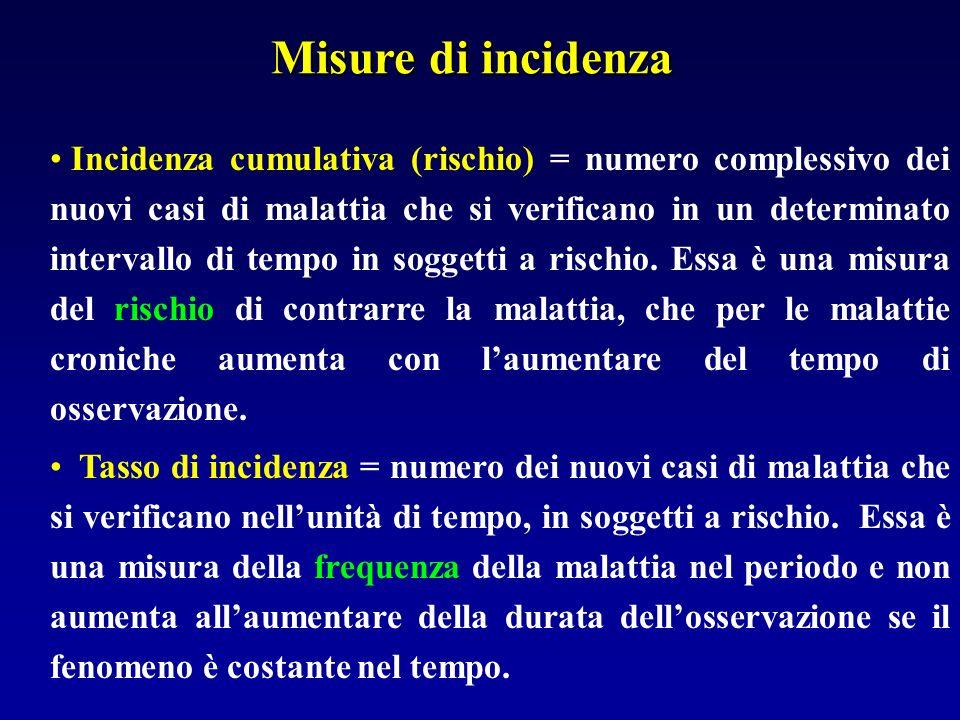 Misure di incidenza Incidenza cumulativa (rischio) = numero complessivo dei nuovi casi di malattia che si verificano in un determinato intervallo di t