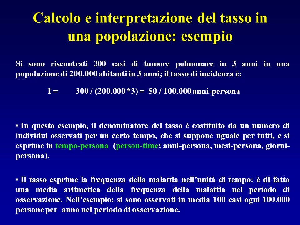 Calcolo e interpretazione del tasso in una popolazione: esempio Si sono riscontrati 300 casi di tumore polmonare in 3 anni in una popolazione di 200.0