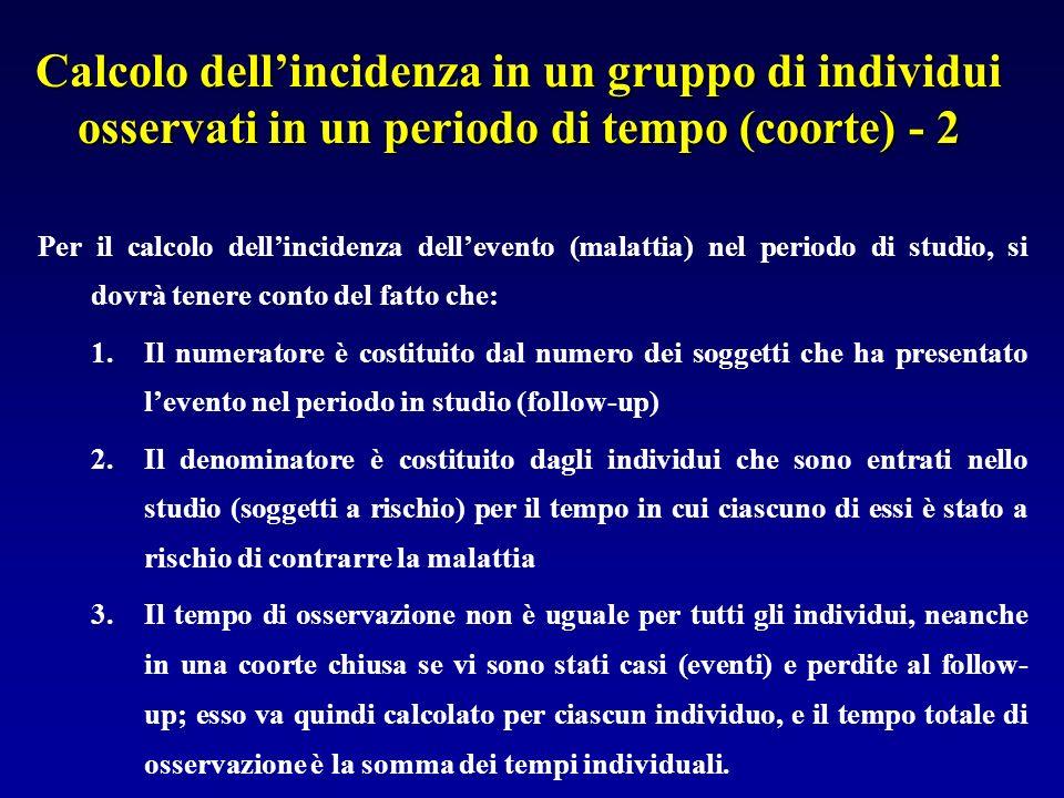 Calcolo dellincidenza in un gruppo di individui osservati in un periodo di tempo (coorte) - 2 Per il calcolo dellincidenza dellevento (malattia) nel p
