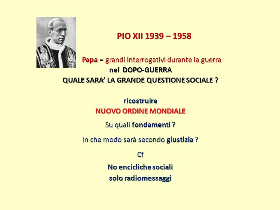 PIO XII 1939 – 1958 Papagrandi interrogativi durante la guerra Papa = grandi interrogativi durante la guerra nel DOPO-GUERRA QUALE SARA LA GRANDE QUES