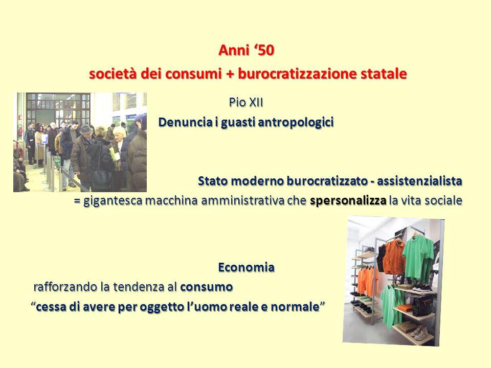 Anni 50 società dei consumi + burocratizzazione statale società dei consumi + burocratizzazione statale Pio XII Denuncia i guasti antropologici Stato