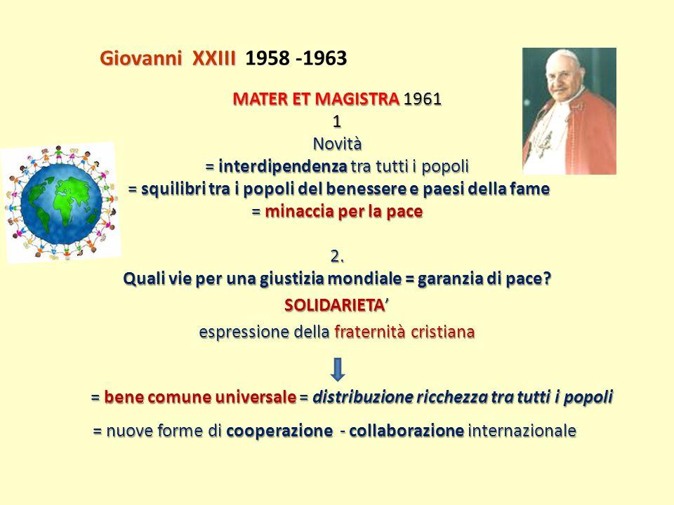 MATER ET MAGISTRA 1961 1Novità = interdipendenza tra tutti i popoli = squilibri tra i popoli del benessere e paesi della fame = squilibri tra i popoli