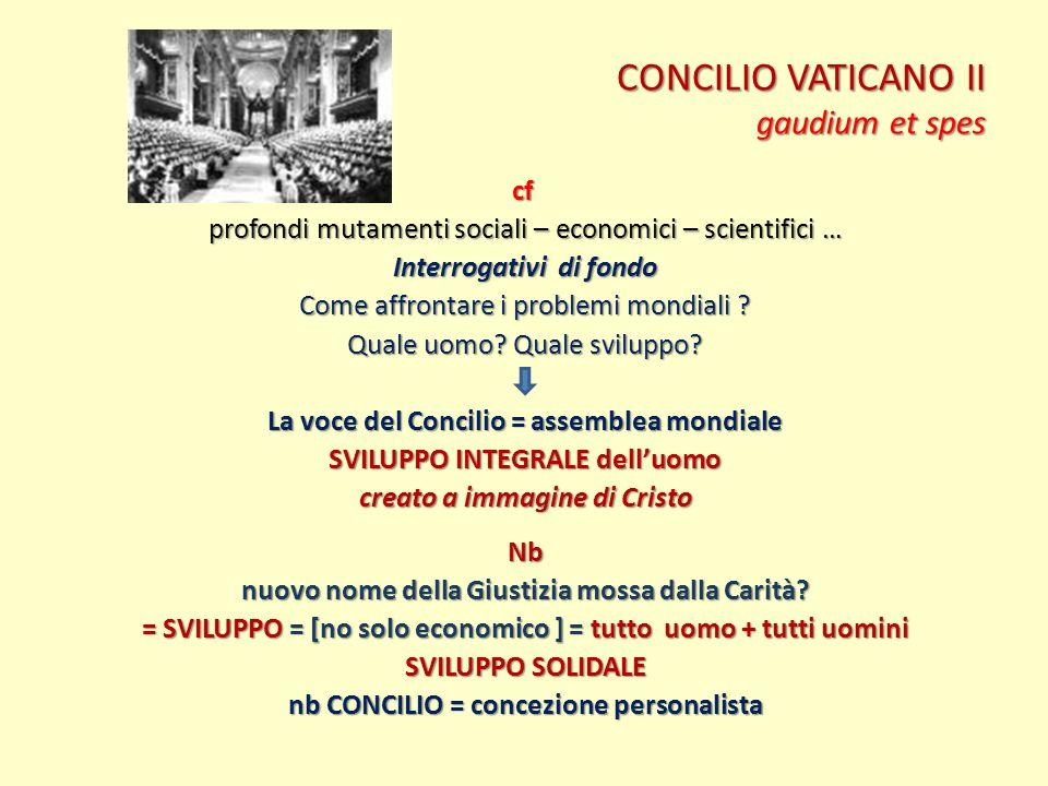 CONCILIO VATICANO II gaudium et spes cf profondi mutamenti sociali – economici – scientifici … Interrogativi di fondo Come affrontare i problemi mondi
