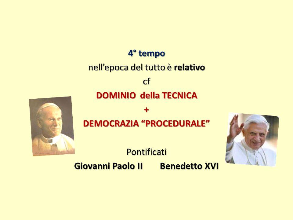 4° tempo nellepoca del tutto è relativo cf DOMINIO della TECNICA + DEMOCRAZIA PROCEDURALE Pontificati Giovanni Paolo II Benedetto XVI