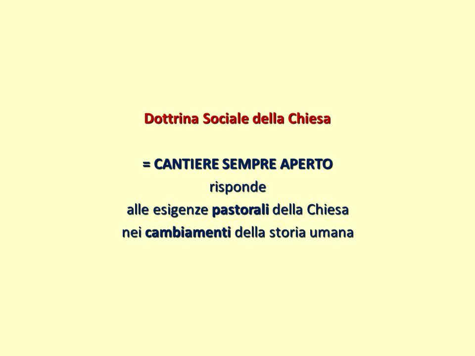 Dottrina Sociale della Chiesa = CANTIERE SEMPRE APERTO risponde alle esigenze pastorali della Chiesa nei cambiamenti della storia umana