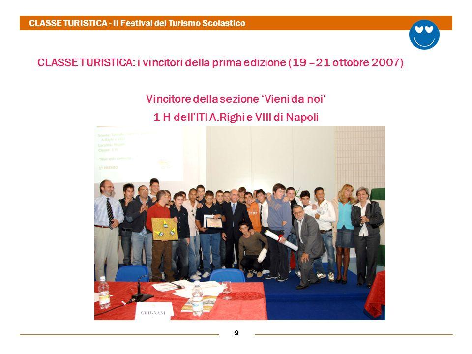 9 CLASSE TURISTICA: i vincitori della prima edizione (19 –21 ottobre 2007) Vincitore della sezione Vieni da noi 1 H dellITI A.Righi e VIII di Napoli CLASSE TURISTICA - Il Festival del Turismo Scolastico