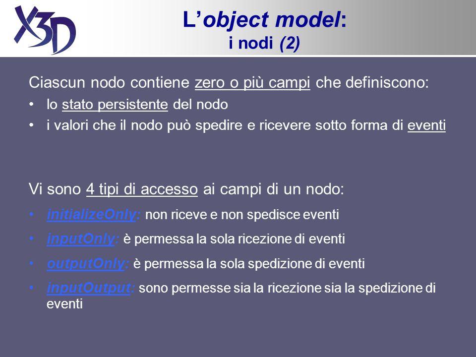 Lobject model: i nodi (2) Ciascun nodo contiene zero o più campi che definiscono: lo stato persistente del nodo i valori che il nodo può spedire e ric