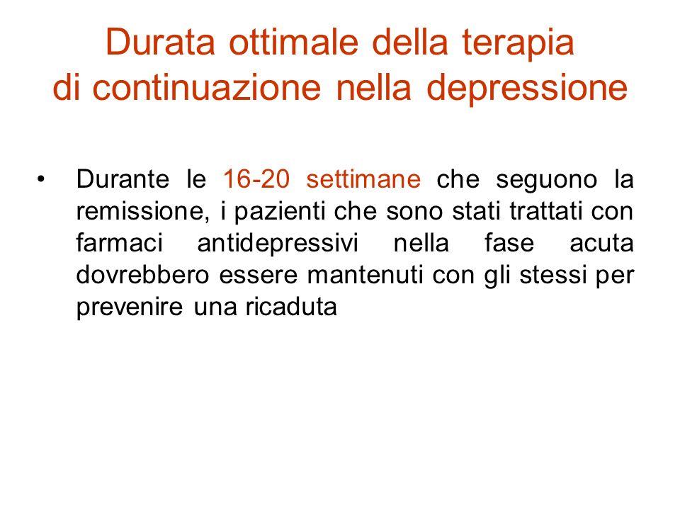APA, Linee Guida per il Trattamento del Disturbo Depressivo Maggiore, 1998 Durata ottimale della terapia di continuazione nella depressione Durante le