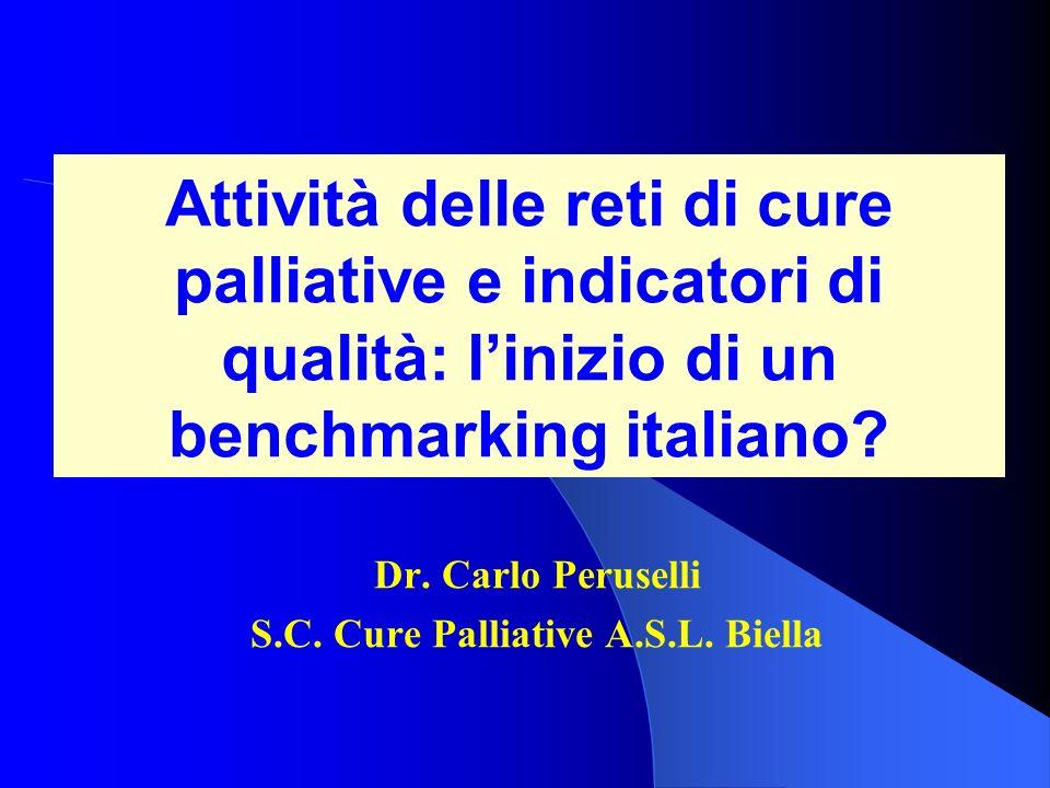 Attività delle reti di cure palliative e indicatori di qualità: linizio di un benchmarking italiano? Dr. Carlo Peruselli S.C. Cure Palliative A.S.L. B