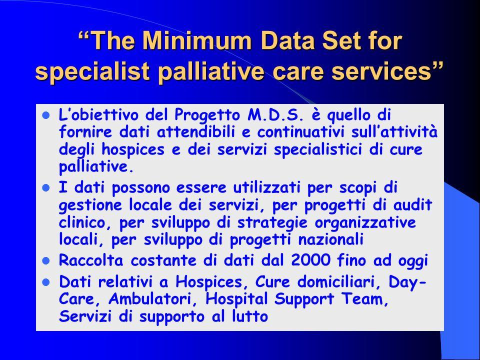 The Minimum Data Set for specialist palliative care services Lobiettivo del Progetto M.D.S. è quello di fornire dati attendibili e continuativi sullat