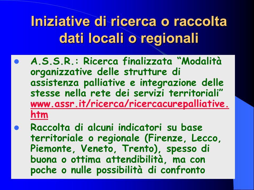 Iniziative di ricerca o raccolta dati locali o regionali A.S.S.R.: Ricerca finalizzata Modalità organizzative delle strutture di assistenza palliative