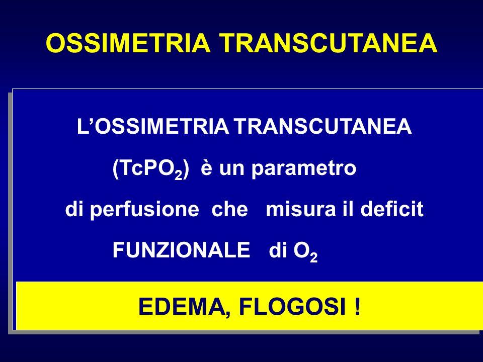 LOSSIMETRIA TRANSCUTANEA (TcPO 2 ) è un parametro di perfusione che misura il deficit FUNZIONALE di O 2 EDEMA, FLOGOSI !