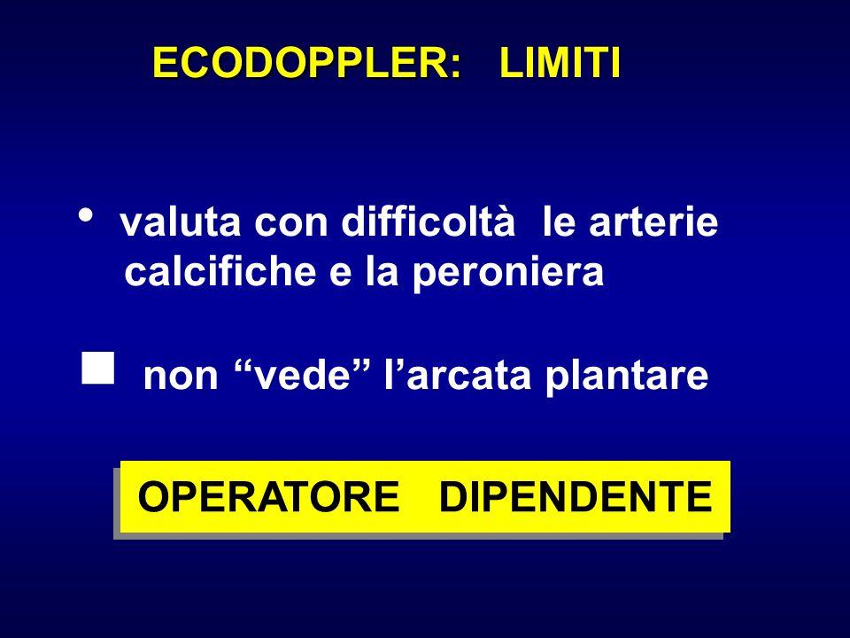ECODOPPLER: ECODOPPLER: LIMITI valuta con difficoltà le arterie calcifiche e la peroniera non vede larcata plantare OPERATORE DIPENDENTE