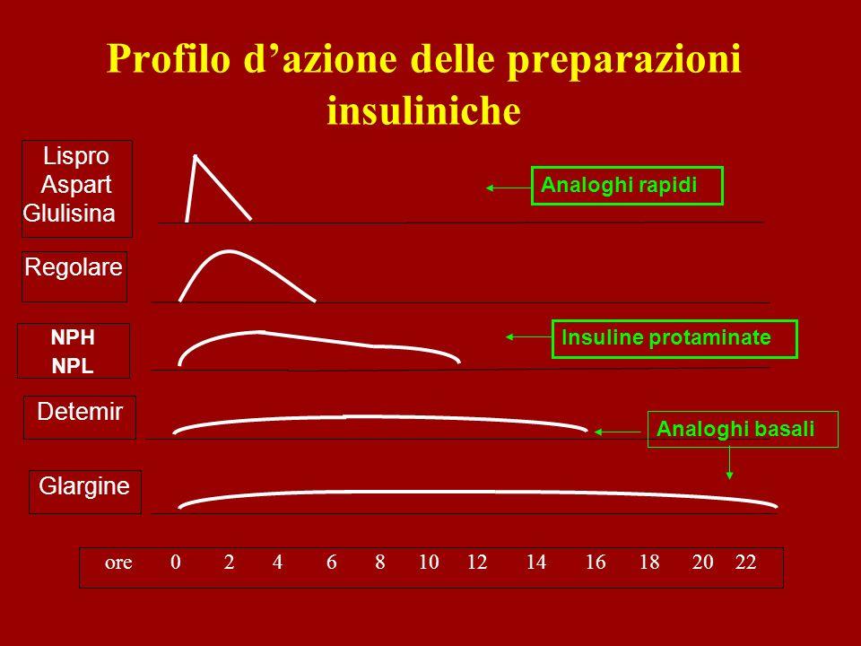Lispro Aspart Glulisina Regolare NPH NPL Glargine ore 0 2 4 6 8 10 12 14 16 18 20 22 Profilo dazione delle preparazioni insuliniche Detemir Analoghi r