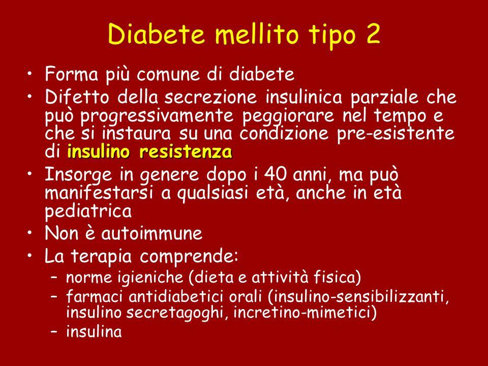 Diabete mellito tipo 2 Forma più comune di diabete insulino resistenzaDifetto della secrezione insulinica parziale che può progressivamente peggiorare