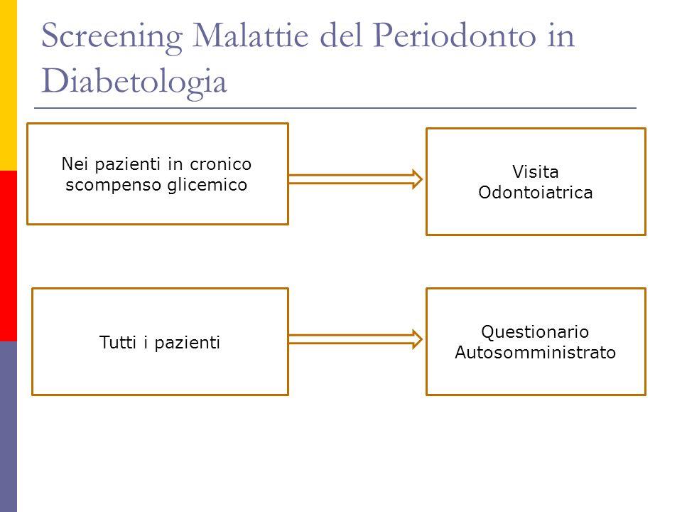 Screening Malattie del Periodonto in Diabetologia Nei pazienti in cronico scompenso glicemico Visita Odontoiatrica Tutti i pazienti Questionario Autos