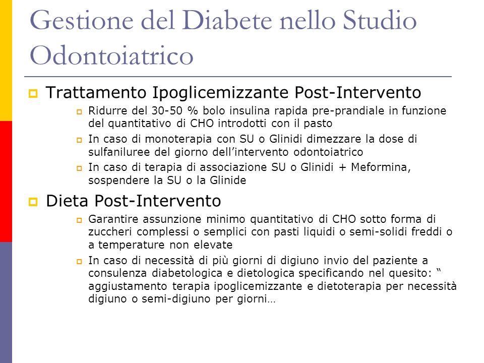 Trattamento Ipoglicemizzante Post-Intervento Ridurre del 30-50 % bolo insulina rapida pre-prandiale in funzione del quantitativo di CHO introdotti con