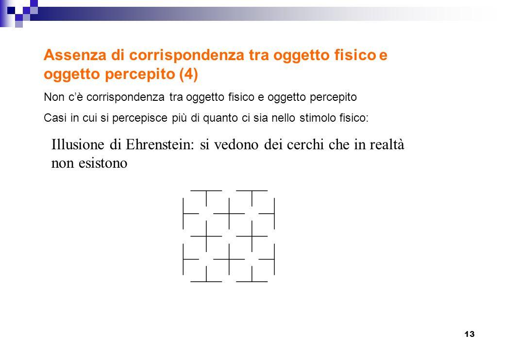 13 Assenza di corrispondenza tra oggetto fisico e oggetto percepito (4) Non cè corrispondenza tra oggetto fisico e oggetto percepito Casi in cui si pe