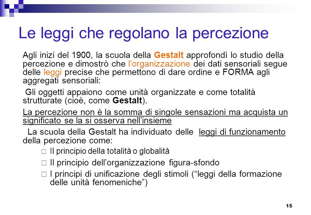 15 Le leggi che regolano la percezione Agli inizi del 1900, la scuola della Gestalt approfondì lo studio della percezione e dimostrò che lorganizzazio