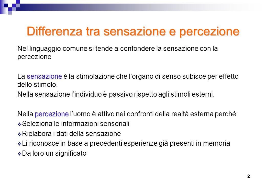2 Differenza tra sensazione e percezione Nel linguaggio comune si tende a confondere la sensazione con la percezione sensazione La sensazione è la sti