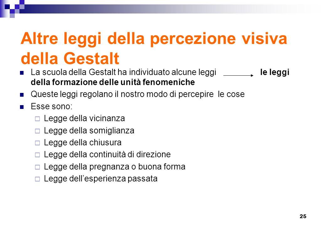25 Altre leggi della percezione visiva della Gestalt La scuola della Gestalt ha individuato alcune leggile leggi della formazione delle unità fenomeni