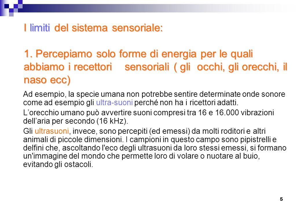 5 I limiti del sistema sensoriale: 1. Percepiamo solo forme di energia per le quali abbiamo i recettori sensoriali ( gli occhi, gli orecchi, il naso e
