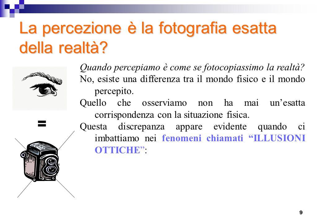 9 La percezione è la fotografia esatta della realtà? = Quando percepiamo è come se fotocopiassimo la realtà? No, esiste una differenza tra il mondo fi