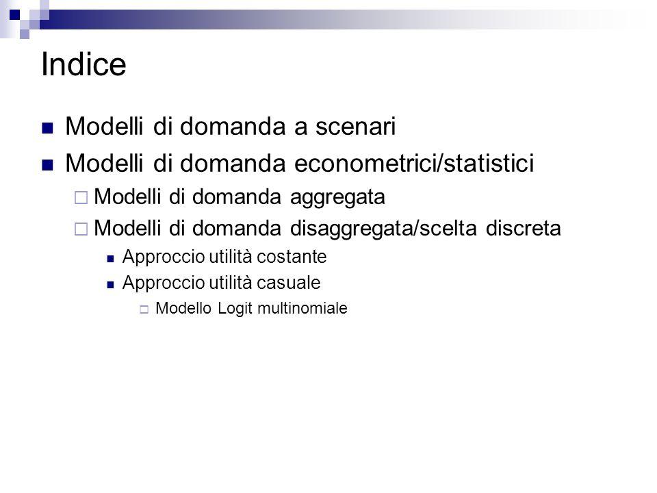 Indice Modelli di domanda a scenari Modelli di domanda econometrici/statistici Modelli di domanda aggregata Modelli di domanda disaggregata/scelta dis