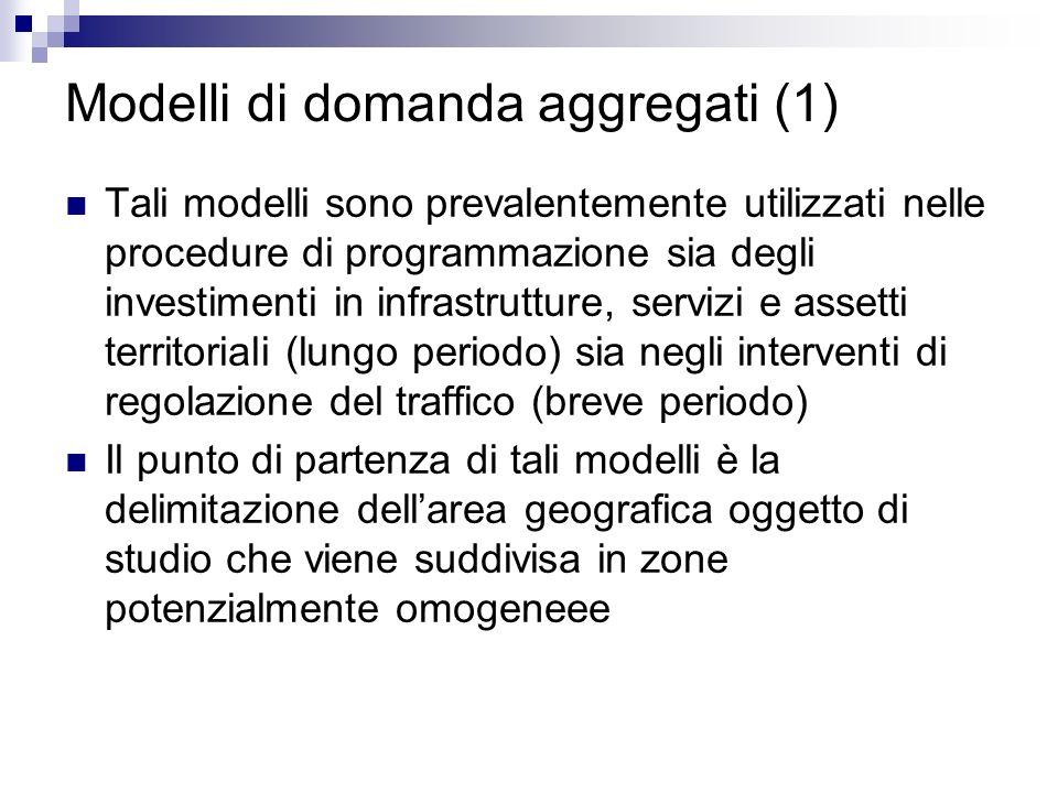Modelli di domanda aggregati (1) Tali modelli sono prevalentemente utilizzati nelle procedure di programmazione sia degli investimenti in infrastruttu