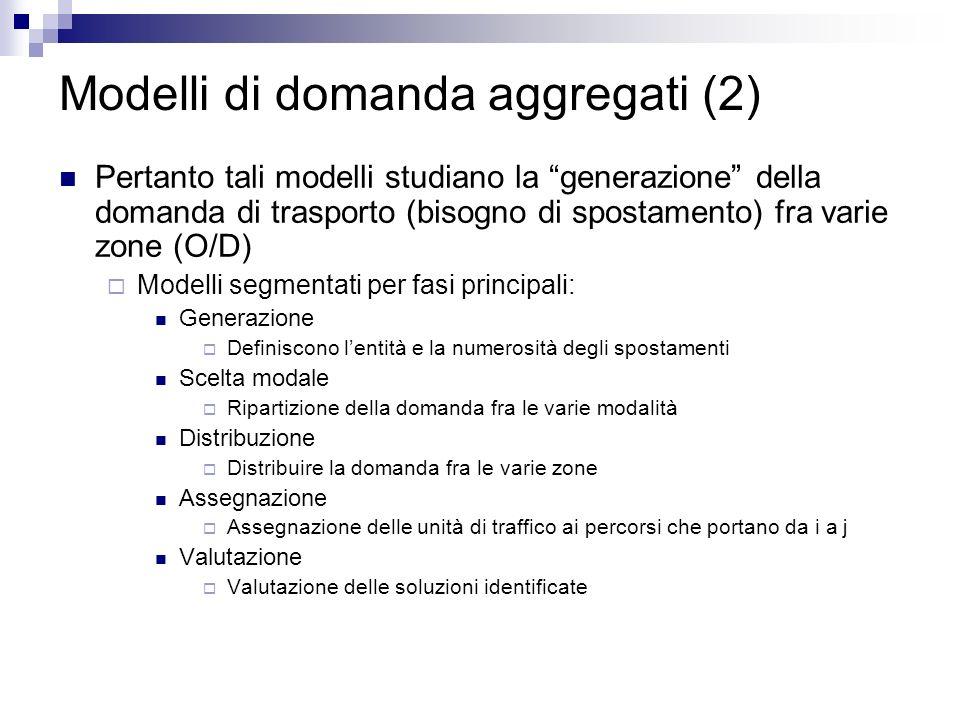 Modelli di domanda aggregati (2) Pertanto tali modelli studiano la generazione della domanda di trasporto (bisogno di spostamento) fra varie zone (O/D