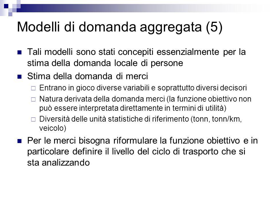 Modelli di domanda aggregata (5) Tali modelli sono stati concepiti essenzialmente per la stima della domanda locale di persone Stima della domanda di