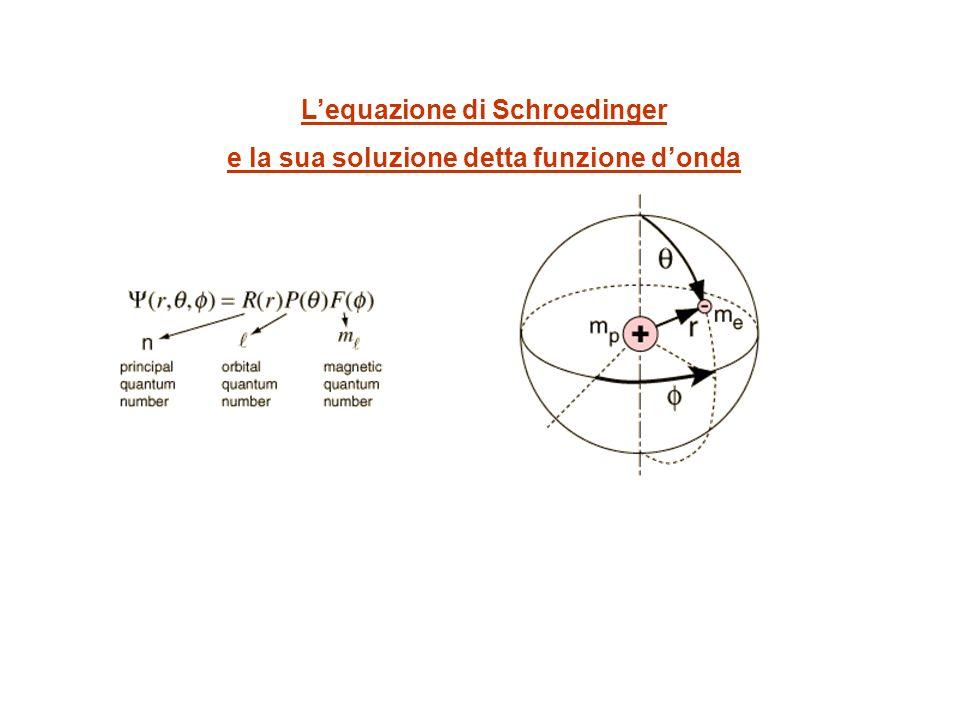 Lequazione di Schroedinger e la sua soluzione detta funzione donda