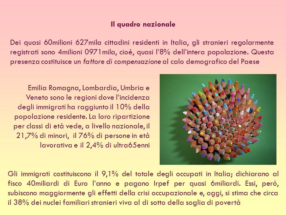 Dei quasi 60milioni 627mila cittadini residenti in Italia, gli stranieri regolarmente registrati sono 4milioni 0971mila, cioè, quasi l8% dellintera popolazione.